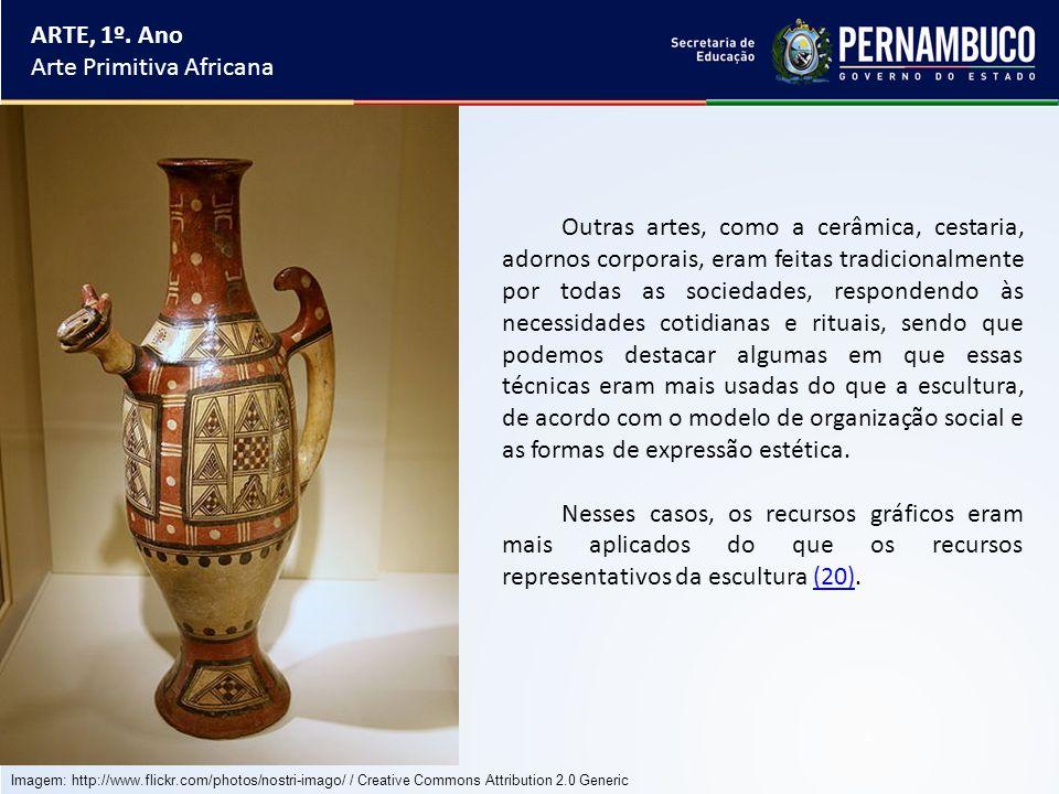 ARTE, 1º. Ano Arte Primitiva Africana Outras artes, como a cerâmica, cestaria, adornos corporais, eram feitas tradicionalmente por todas as sociedades