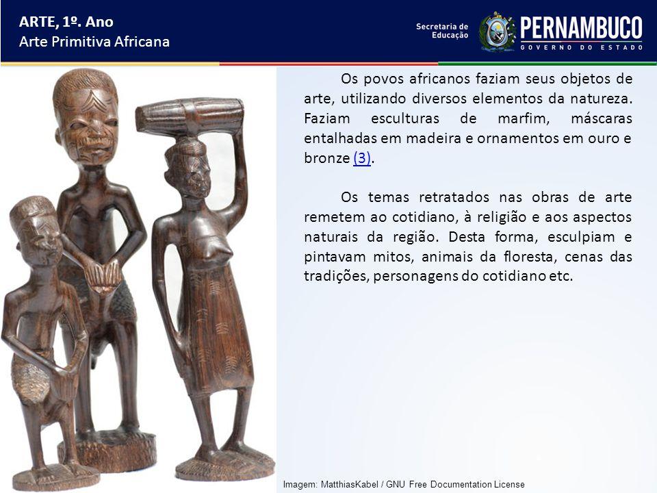 ARTE, 1º. Ano Arte Primitiva Africana Os povos africanos faziam seus objetos de arte, utilizando diversos elementos da natureza. Faziam esculturas de