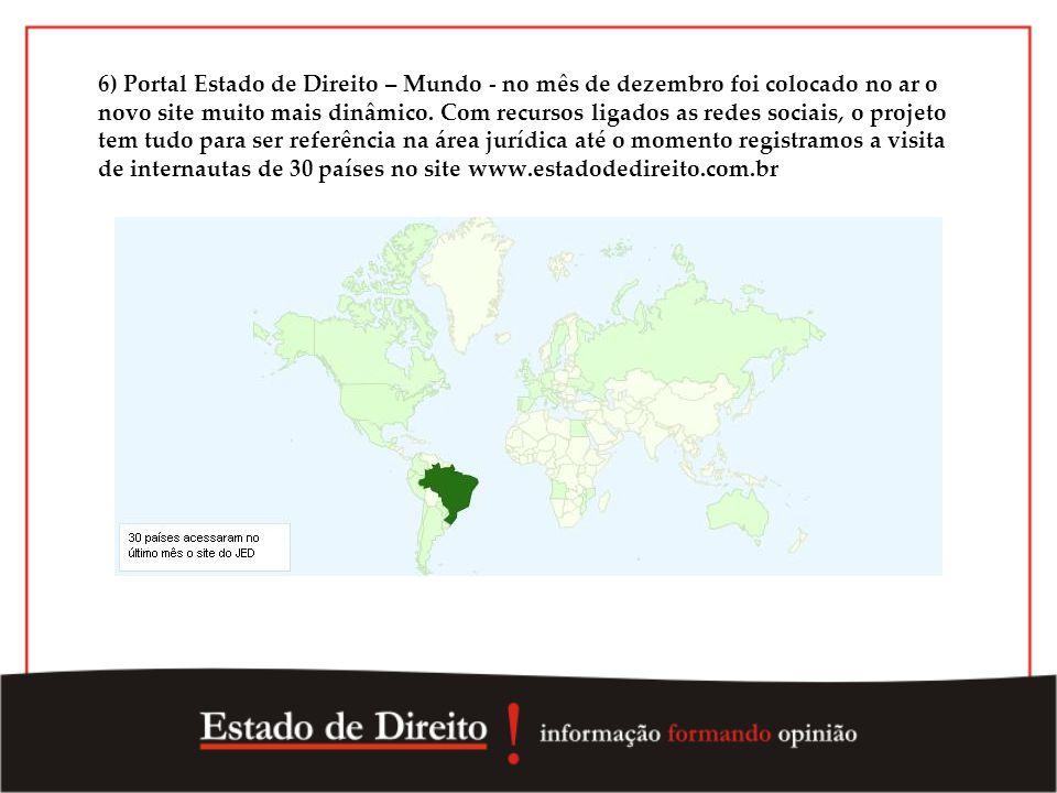 6) Portal Estado de Direito – Mundo - no mês de dezembro foi colocado no ar o novo site muito mais dinâmico. Com recursos ligados as redes sociais, o