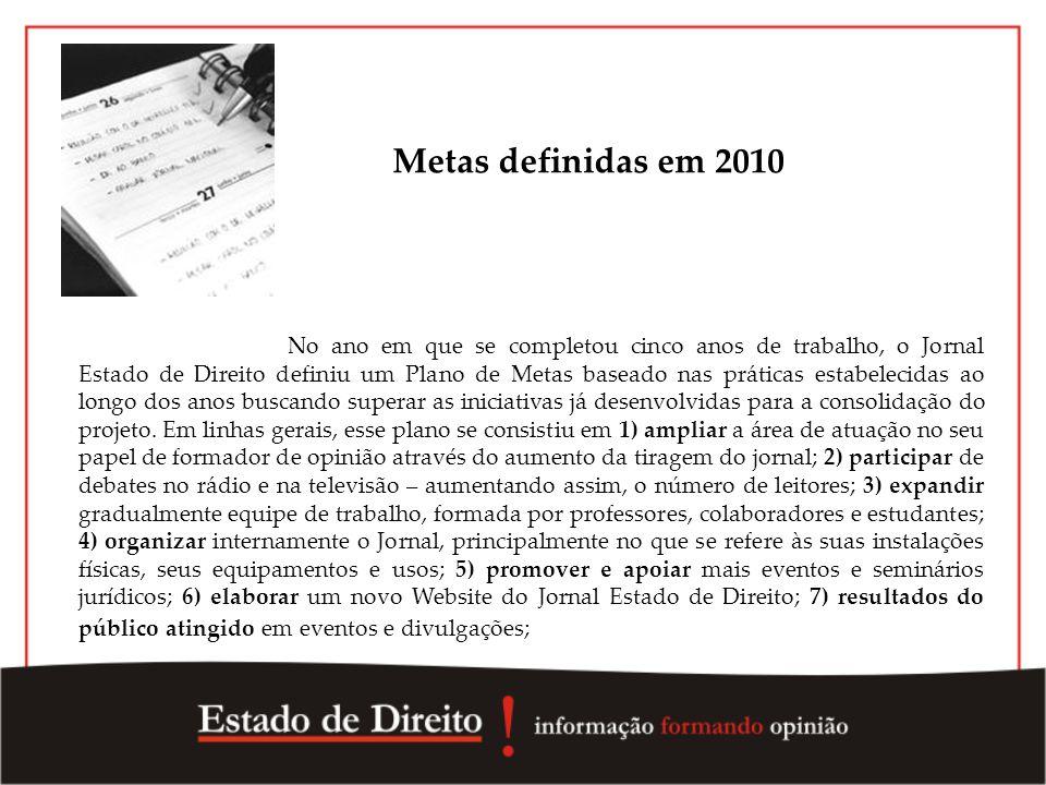 Metas definidas em 2010 No ano em que se completou cinco anos de trabalho, o Jornal Estado de Direito definiu um Plano de Metas baseado nas práticas e
