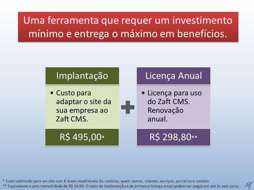 Uma ferramenta que requer um investimento mínimo e entrega o máximo em benefícios. Custo para adaptar o site da sua empresa ao Zaft CMS. Implantação R