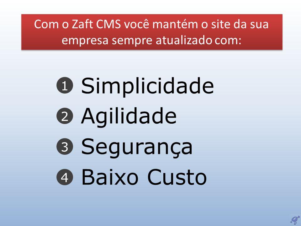 1 2 3 4 Simplicidade Agilidade Segurança Baixo Custo Com o Zaft CMS você mantém o site da sua empresa sempre atualizado com: