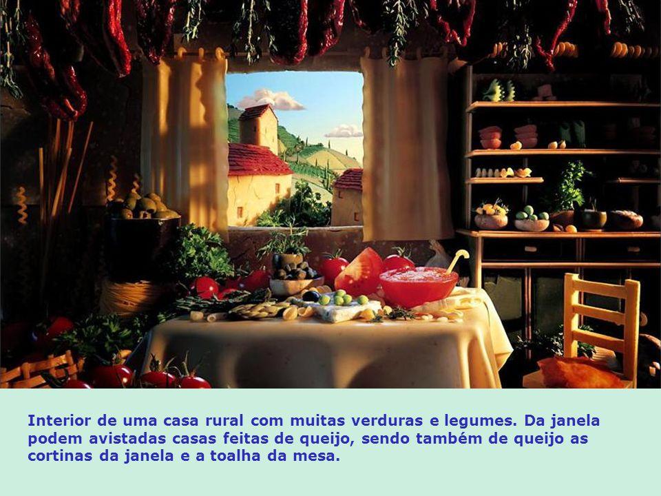 As casas de queijo com toldos de macarrão, vendem tomates, azeitonas, amêndoas de casca, e outros legumes e verduras. As pedras feitas de pão formam e