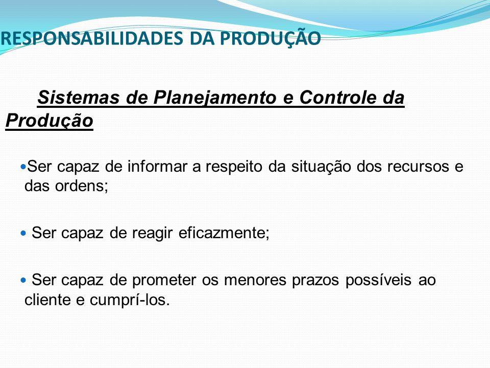 RESPONSABILIDADES DA PRODUÇÃO Sistemas de Planejamento e Controle da Produção Ser capaz de informar a respeito da situação dos recursos e das ordens;