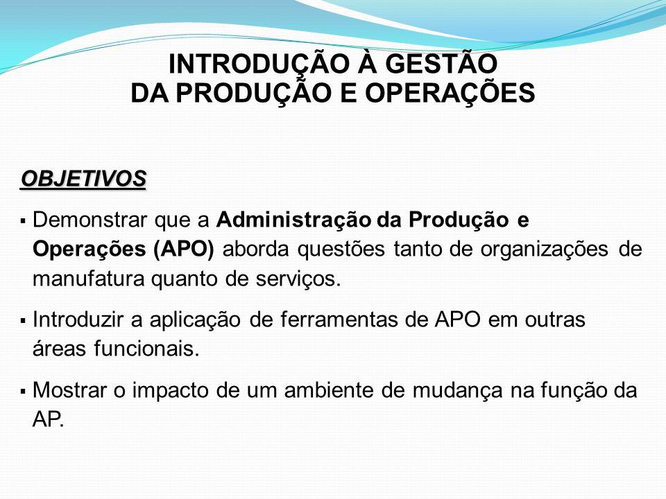 INTRODUÇÃO À GESTÃO DA PRODUÇÃO E OPERAÇÕES OBJETIVOS Demonstrar que a função da APO assume uma perspectiva global à medida que a empresa torna-se internacional.