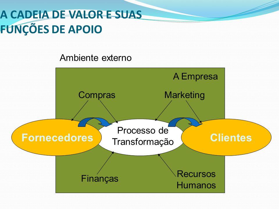 A CADEIA DE VALOR E SUAS FUNÇÕES DE APOIO FornecedoresClientes Processo de Transformação Ambiente externo A Empresa Marketing Recursos Humanos Finança