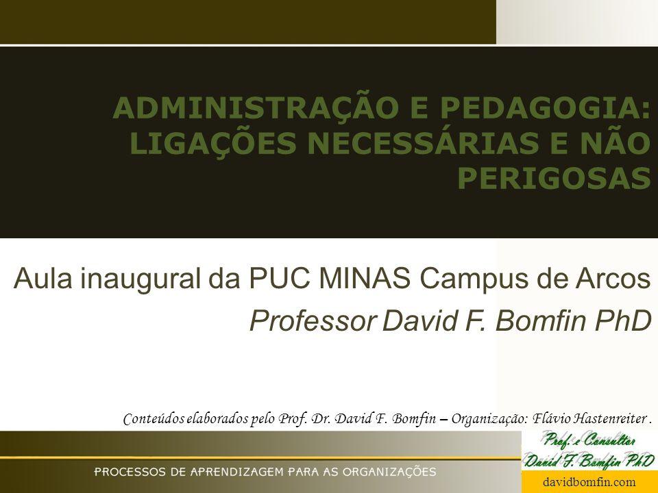 ADMINISTRAÇÃO E PEDAGOGIA: LIGAÇÕES NECESSÁRIAS E NÃO PERIGOSAS Aula inaugural da PUC MINAS Campus de Arcos Professor David F. Bomfin PhD Conteúdos el