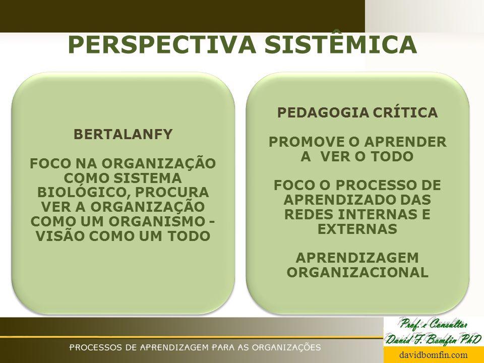 PERSPECTIVA SISTÊMICA BERTALANFY FOCO NA ORGANIZAÇÃO COMO SISTEMA BIOLÓGICO, PROCURA VER A ORGANIZAÇÃO COMO UM ORGANISMO - VISÃO COMO UM TODO BERTALAN