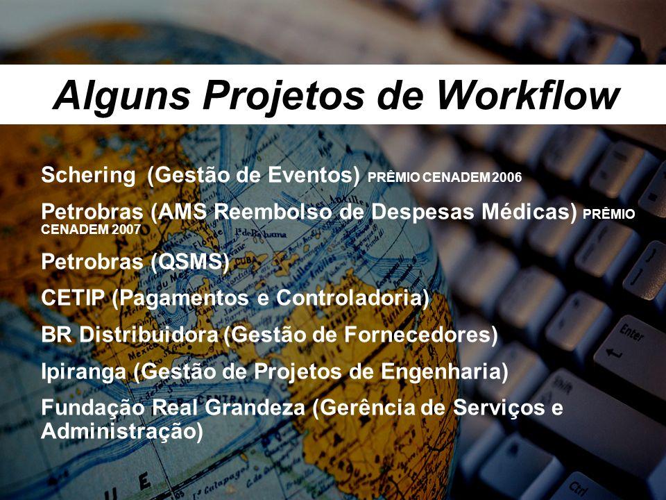 Alguns Projetos de Workflow Schering (Gestão de Eventos) PRÊMIO CENADEM 2006 Petrobras (AMS Reembolso de Despesas Médicas) PRÊMIO CENADEM 2007 Petrobras (QSMS) CETIP (Pagamentos e Controladoria) BR Distribuidora (Gestão de Fornecedores) Ipiranga (Gestão de Projetos de Engenharia) Fundação Real Grandeza (Gerência de Serviços e Administração)