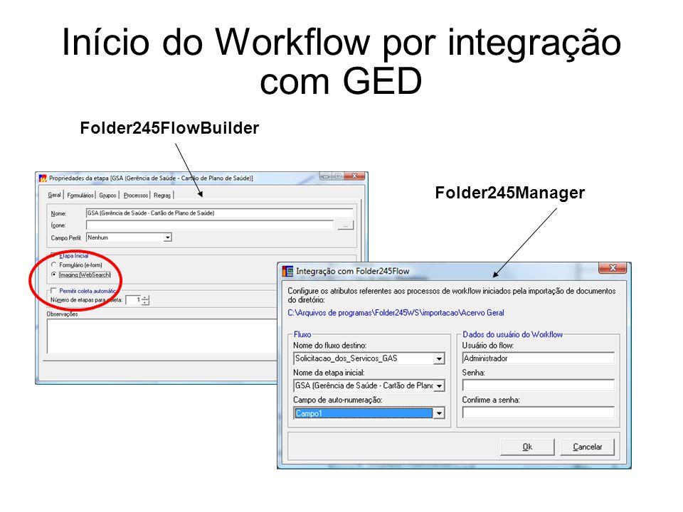 Início do Workflow por integração com GED Folder245FlowBuilder Folder245Manager