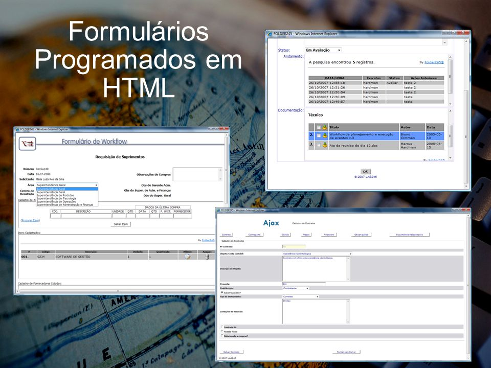 Formulários Programados em HTML