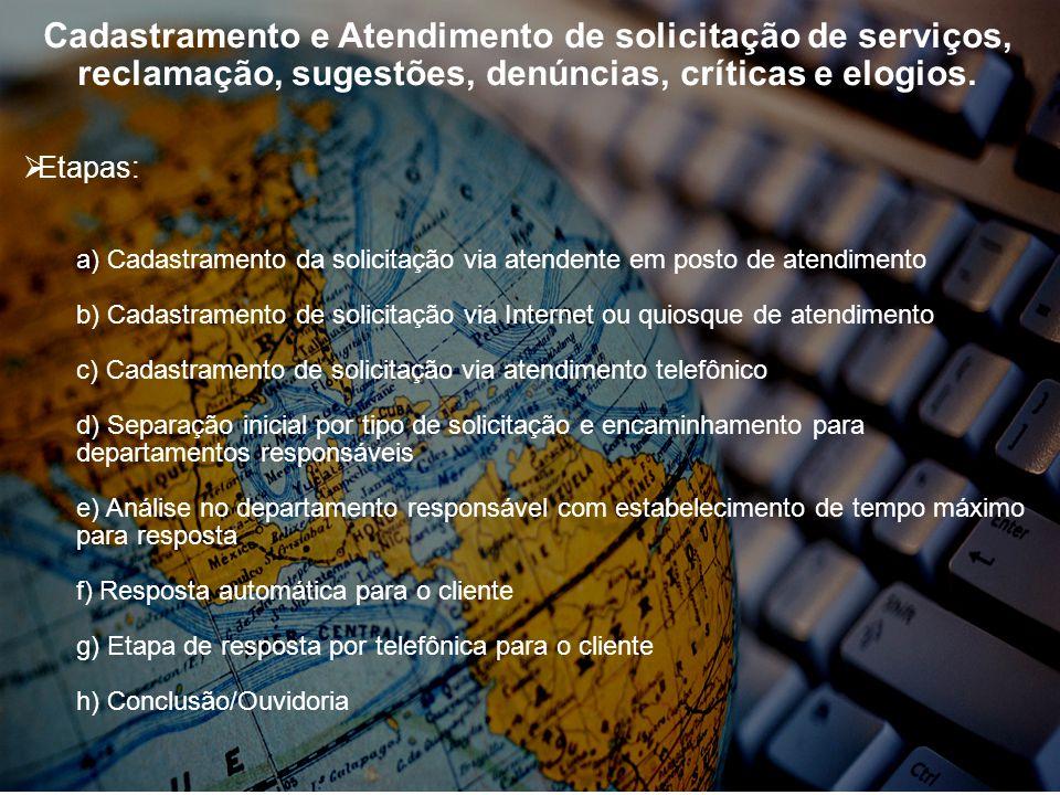 Cadastramento e Atendimento de solicitação de serviços, reclamação, sugestões, denúncias, críticas e elogios. Etapas: a) Cadastramento da solicitação