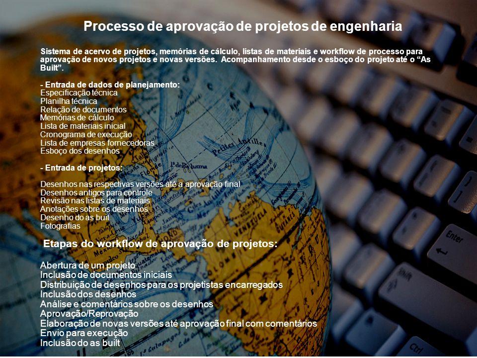 Processo de aprovação de projetos de engenharia Sistema de acervo de projetos, memórias de cálculo, listas de materiais e workflow de processo para aprovação de novos projetos e novas versões.