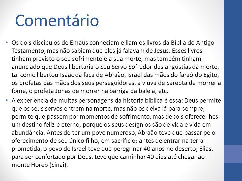 Comentário Os dois discípulos de Emaús conheciam e liam os livros da Bíblia do Antigo Testamento, mas não sabiam que eles já falavam de Jesus. Esses l