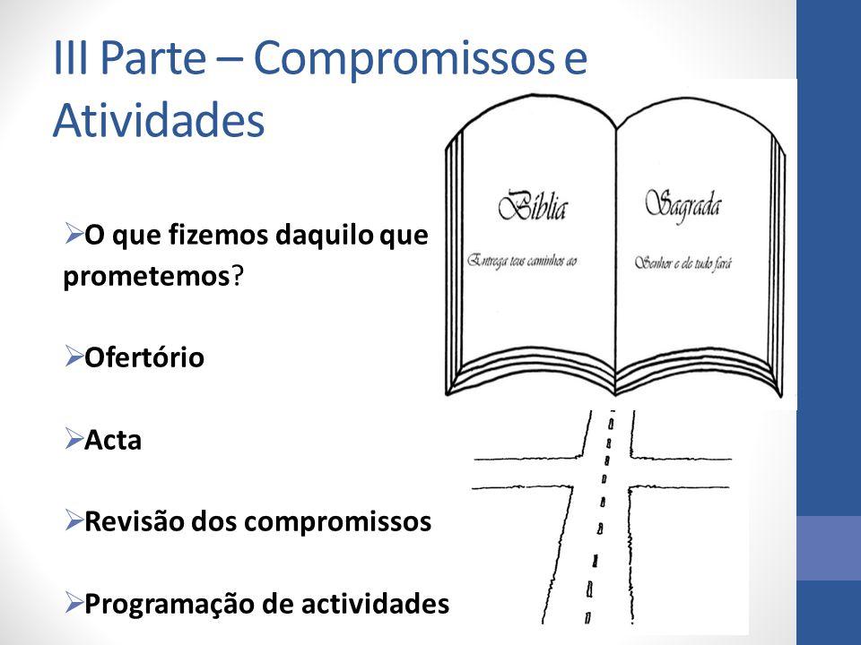 III Parte – Compromissos e Atividades O que fizemos daquilo que O que fizemos daquilo que prometemos prometemos? Ofertório Ofertório Acta Acta Revisão