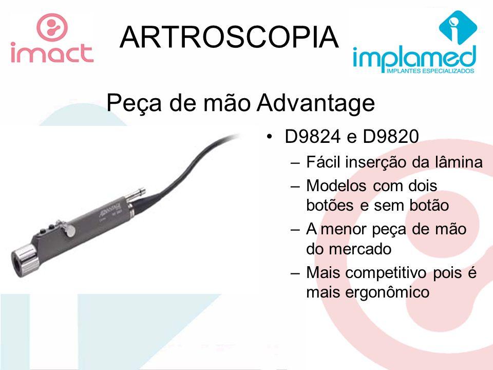 Peça de mão Advantage D9824 e D9820 –Fácil inserção da lâmina –Modelos com dois botões e sem botão –A menor peça de mão do mercado –Mais competitivo p