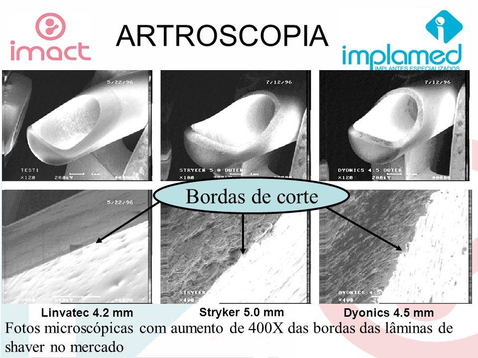 ARTROSCOPIA Fotos microscópicas com aumento de 400X das bordas das lâminas de shaver no mercado Linvatec 4.2 mm Stryker 5.0 mm Dyonics 4.5 mm Bordas d