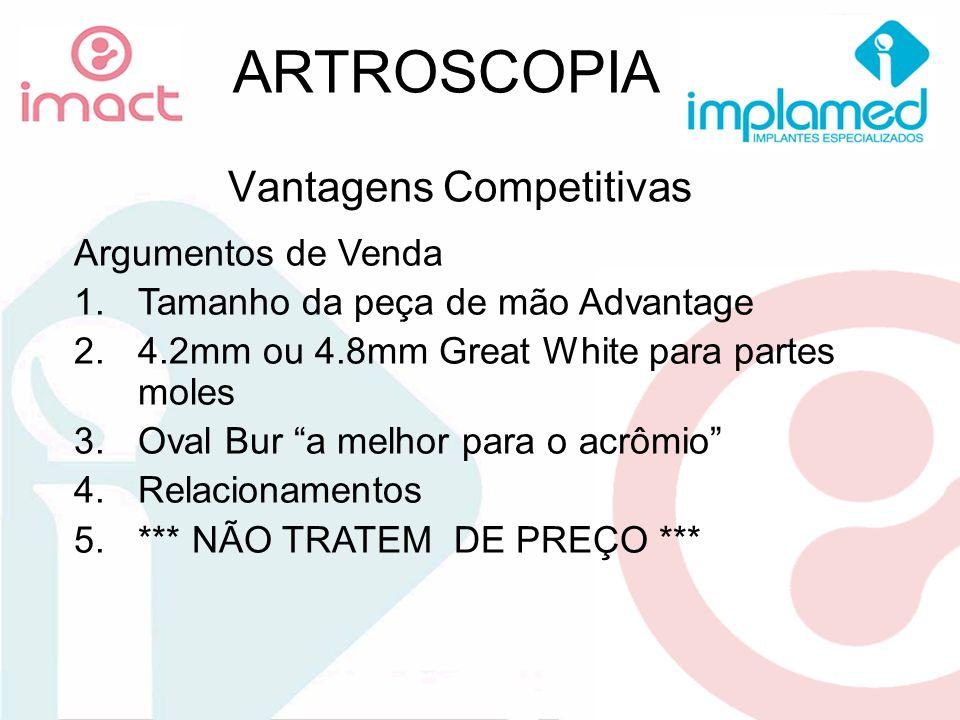 ARTROSCOPIA Vantagens Competitivas Argumentos de Venda 1.Tamanho da peça de mão Advantage 2.4.2mm ou 4.8mm Great White para partes moles 3.Oval Bur a