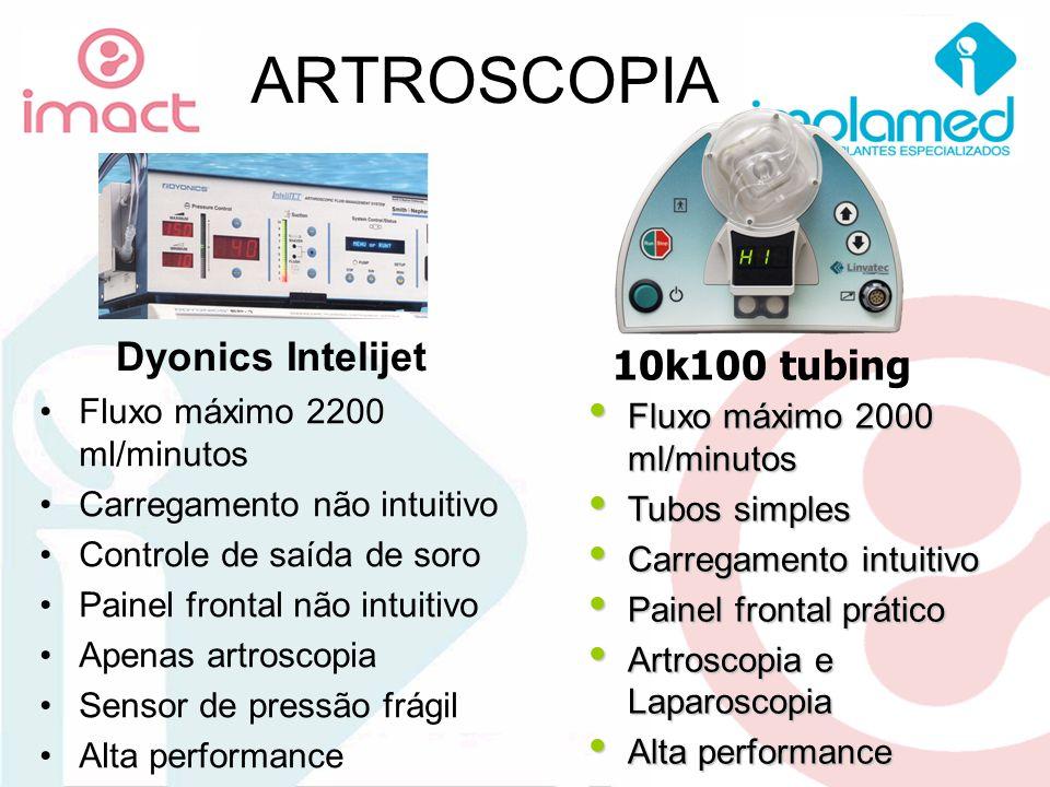 ARTROSCOPIA Dyonics Intelijet Fluxo máximo 2200 ml/minutos Carregamento não intuitivo Controle de saída de soro Painel frontal não intuitivo Apenas ar