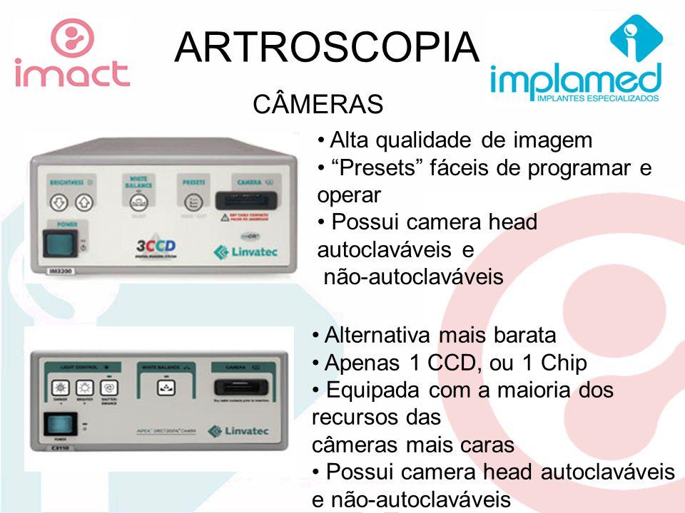 ARTROSCOPIA CÂMERAS Alta qualidade de imagem Presets fáceis de programar e operar Possui camera head autoclaváveis e não-autoclaváveis Alternativa mai