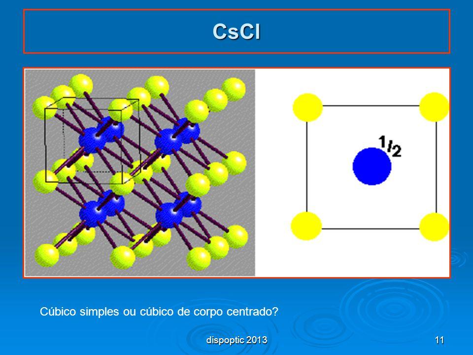 11 CsCl Cúbico simples ou cúbico de corpo centrado? dispoptic 2013