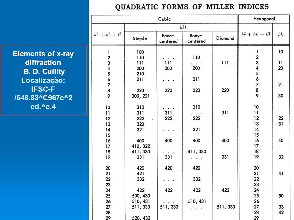 45 Elements of x-ray diffraction B. D. Cullity Localização: IFSC-F /548.83^C967e^2 ed.^e.4 dispoptic 2013