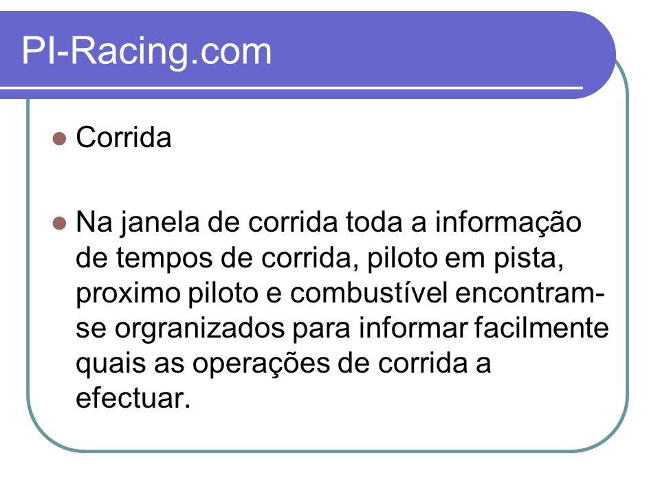PI-Racing.com Corrida Na janela de corrida toda a informação de tempos de corrida, piloto em pista, proximo piloto e combustível encontram- se orgranizados para informar facilmente quais as operações de corrida a efectuar.