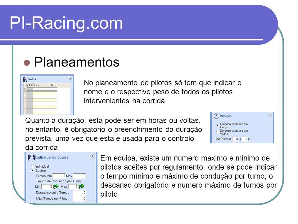 PI-Racing.com Planeamentos Os pesos podem ser controlados individualmente ou por média de equipa.