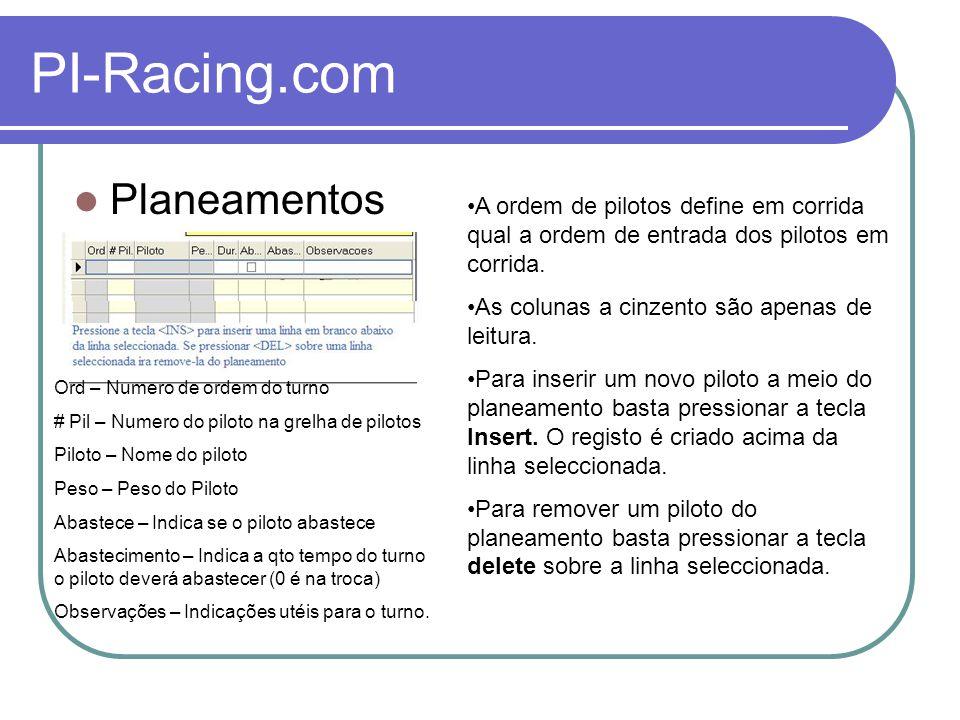 PI-Racing.com Impressão Um planeamento pode ser impresso, para quem não pretenda levar um computador para a corrida.
