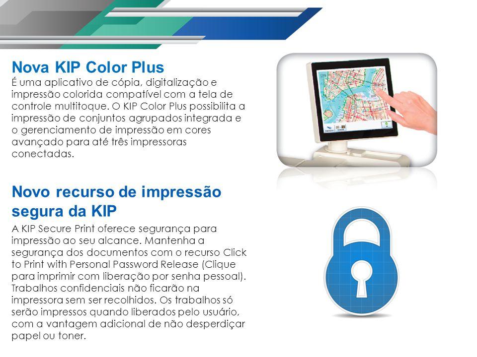 Nova KIP Color Plus É uma aplicativo de cópia, digitalização e impressão colorida compatível com a tela de controle multitoque.