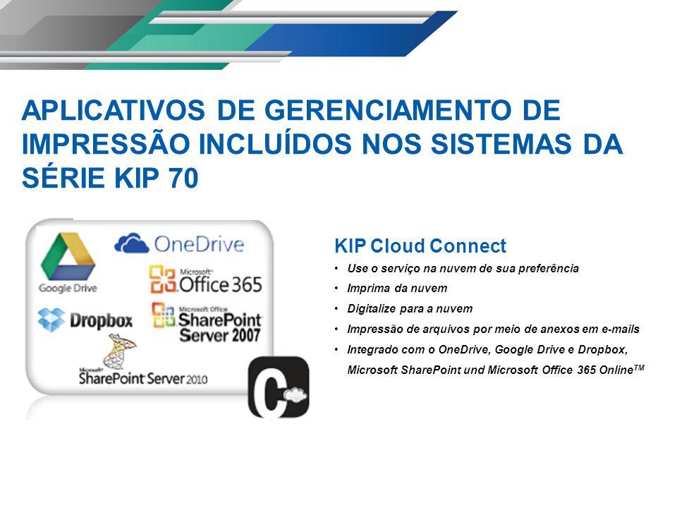KIP Cloud Connect Use o serviço na nuvem de sua preferência Imprima da nuvem Digitalize para a nuvem Impressão de arquivos por meio de anexos em e-mails Integrado com o OneDrive, Google Drive e Dropbox, Microsoft SharePoint und Microsoft Office 365 Online TM