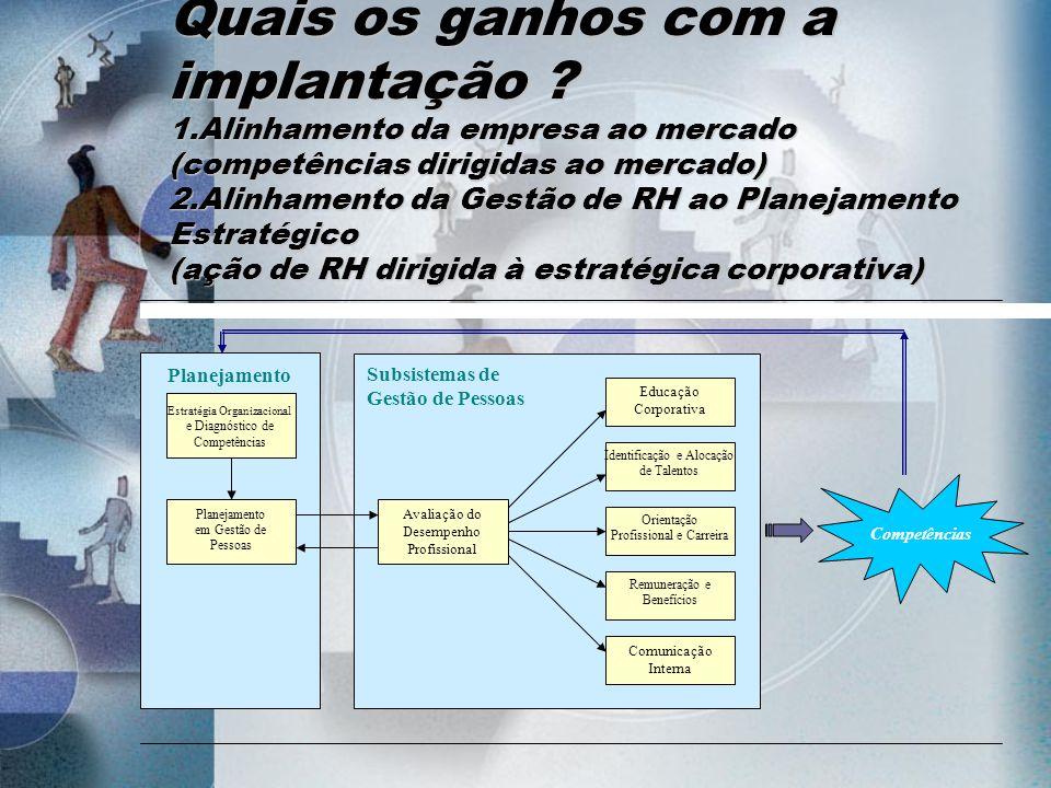 Competências Estratégia Organizacional Planejamento em Gestão de Pessoas Avaliação do Desempenho Profissional Educação Corporativa Identificação e Alo