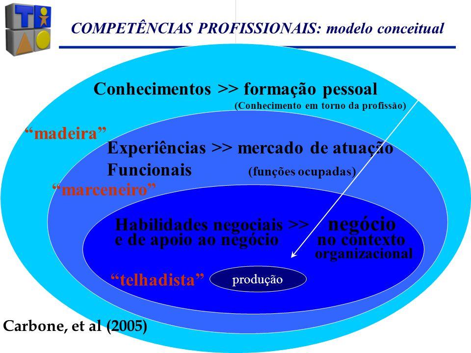 COMPETÊNCIAS PROFISSIONAIS: modelo conceitual Conhecimentos >> formação pessoal (Conhecimento em torno da profissão) Experiências >> mercado de atuaçã