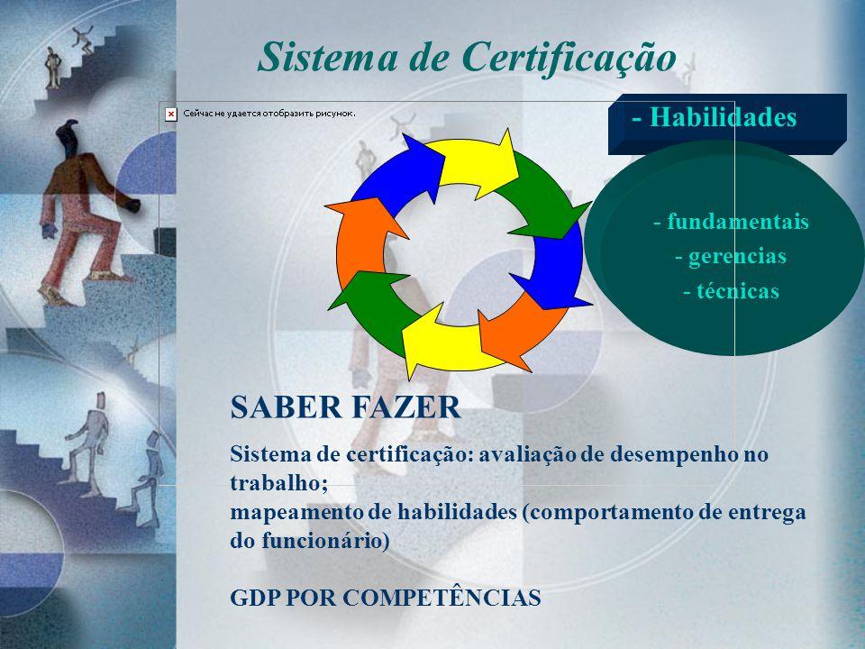 - Habilidades - fundamentais - gerencias - técnicas SABER FAZER Sistema de certificação: avaliação de desempenho no trabalho; mapeamento de habilidade