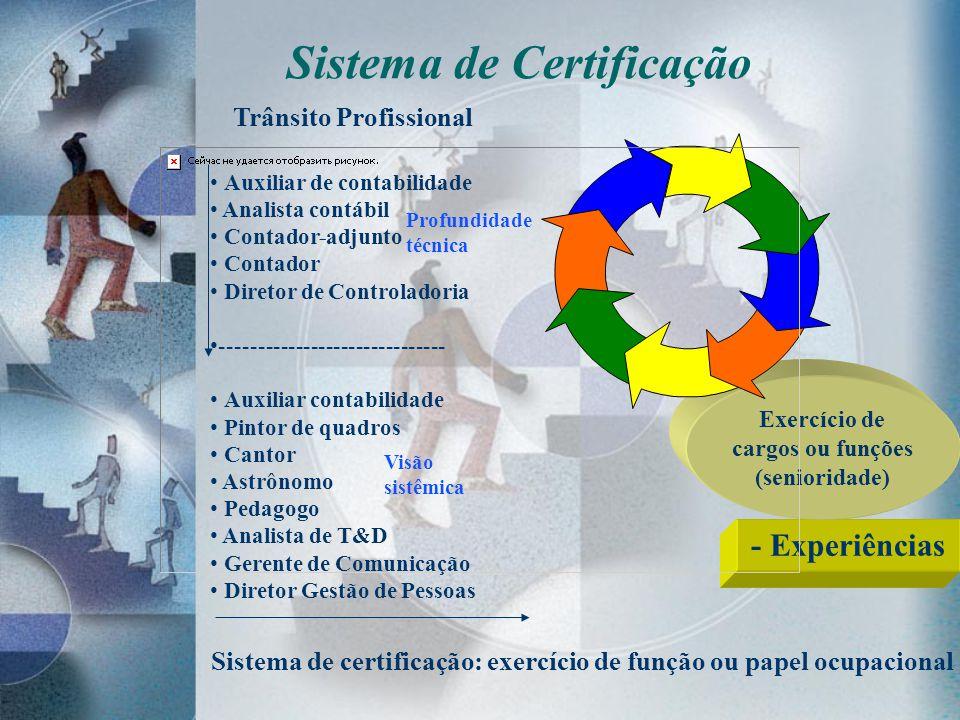 - Experiências Sistema de Certificação Exercício de cargos ou funções (senioridade) Auxiliar de contabilidade Analista contábil Contador-adjunto Conta