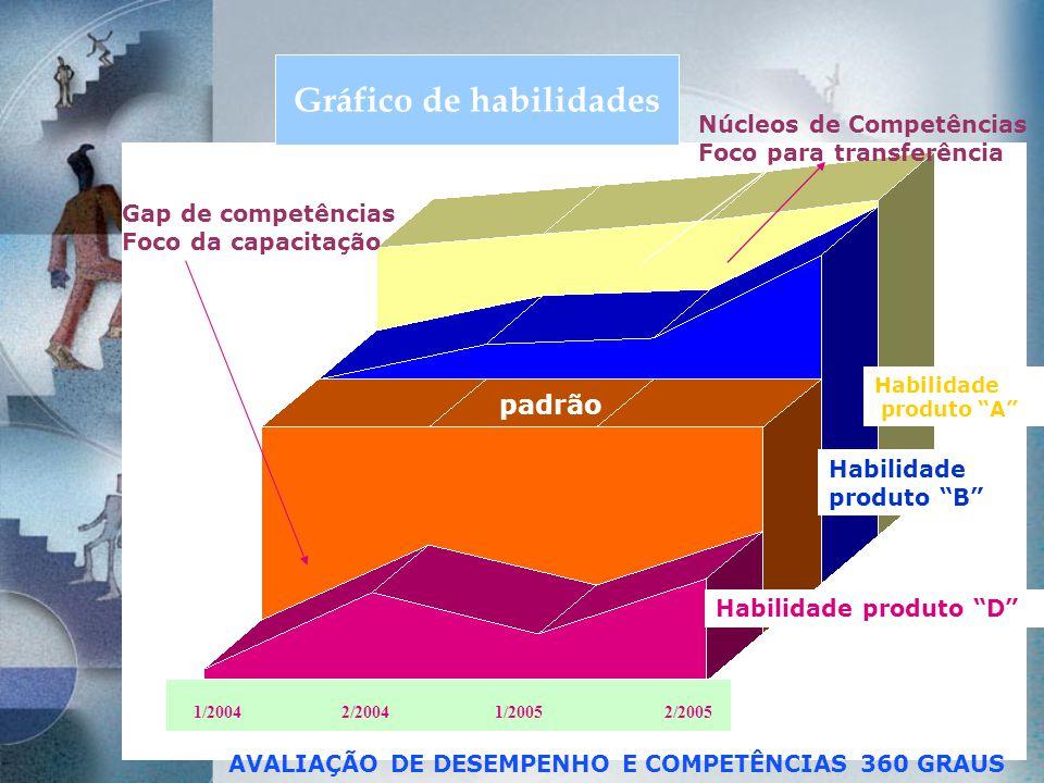Habilidade produto A Habilidade produto B Habilidade produto D 1/2004 2/2004 1/2005 2/2005 Gap de competências Foco da capacitação Núcleos de Competên