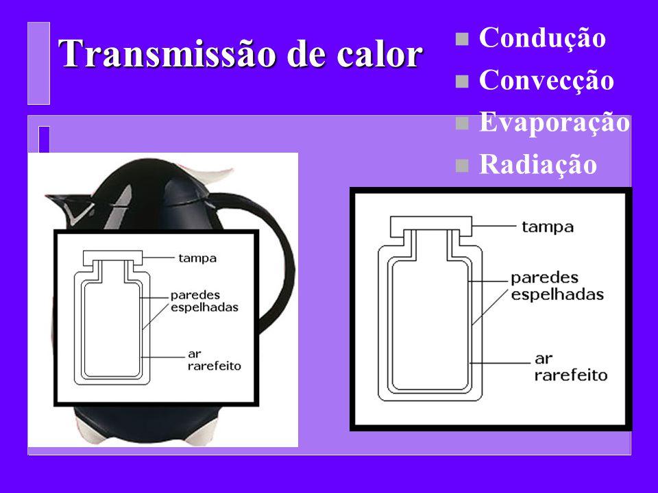 Transmissão de calor n Condução n Convecção n Evaporação n Radiação