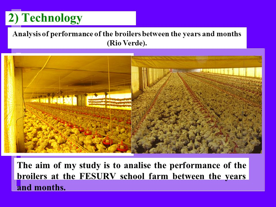 The aim of my study is to analise the performance of the broilers at the FESURV school farm between the years and months.