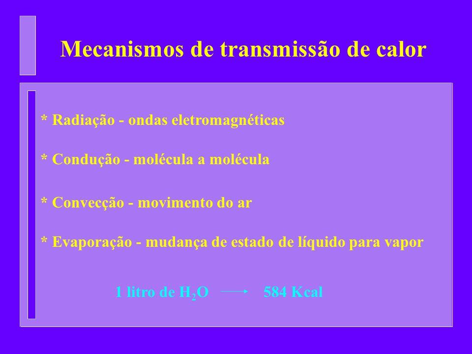 Mecanismos de transmissão de calor * Radiação - ondas eletromagnéticas * Condução - molécula a molécula * Convecção - movimento do ar * Evaporação - m