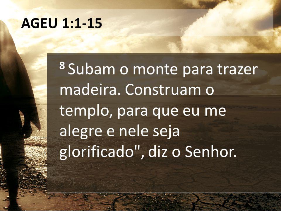 AGEU 1:1-15 8 Subam o monte para trazer madeira. Construam o templo, para que eu me alegre e nele seja glorificado