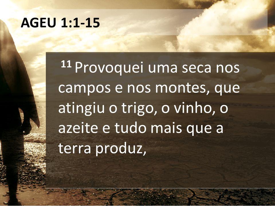 AGEU 1:1-15 11 Provoquei uma seca nos campos e nos montes, que atingiu o trigo, o vinho, o azeite e tudo mais que a terra produz,