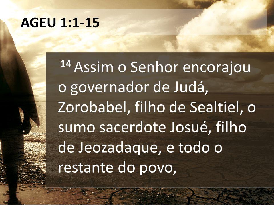 AGEU 1:1-15 14 Assim o Senhor encorajou o governador de Judá, Zorobabel, filho de Sealtiel, o sumo sacerdote Josué, filho de Jeozadaque, e todo o rest