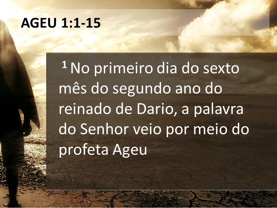AGEU 1:1-15 1 No primeiro dia do sexto mês do segundo ano do reinado de Dario, a palavra do Senhor veio por meio do profeta Ageu