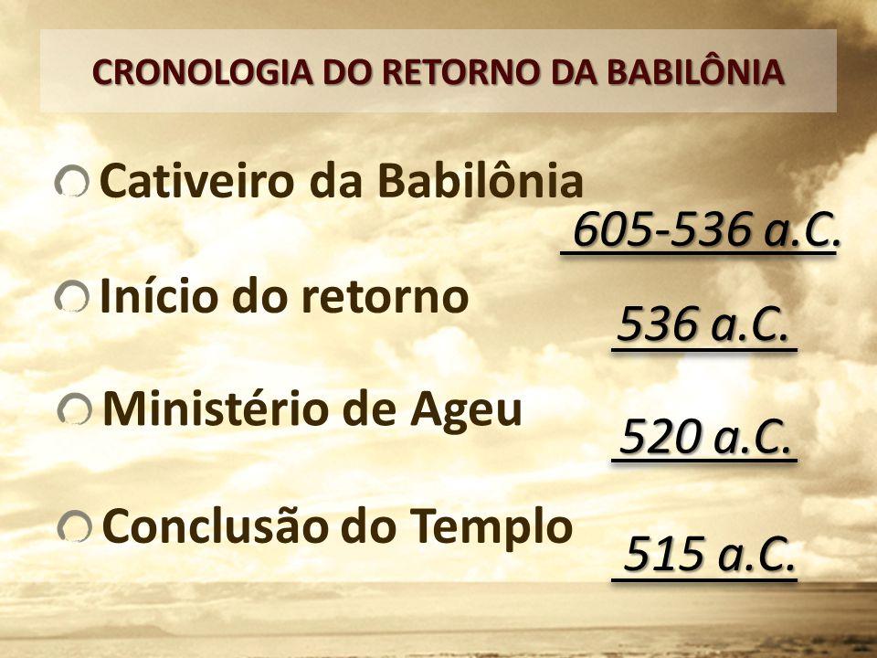 Cativeiro da Babilônia CRONOLOGIA DO RETORNO DA BABILÔNIA 605-536 a.C. Início do retorno 536 a.C. Ministério de Ageu 520 a.C. Conclusão do Templo 515