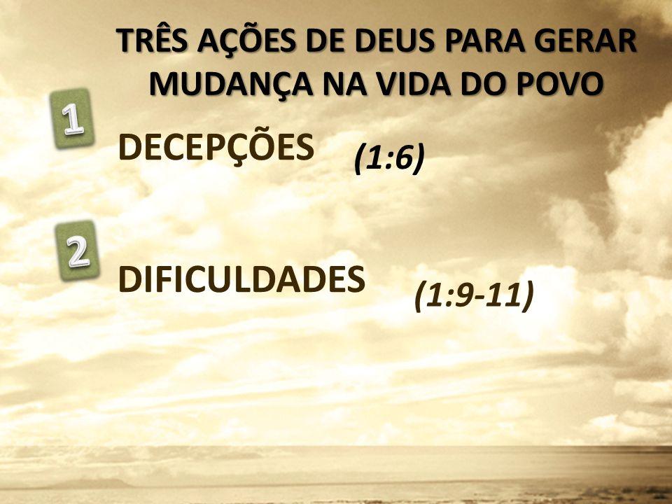 DECEPÇÕES DIFICULDADES (1:9-11) TRÊS AÇÕES DE DEUS PARA GERAR MUDANÇA NA VIDA DO POVO (1:6)