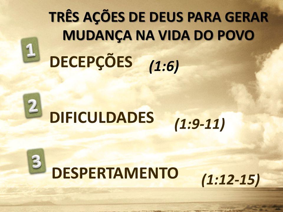 DECEPÇÕES DIFICULDADES DESPERTAMENTO (1:9-11) (1:12-15) TRÊS AÇÕES DE DEUS PARA GERAR MUDANÇA NA VIDA DO POVO (1:6)