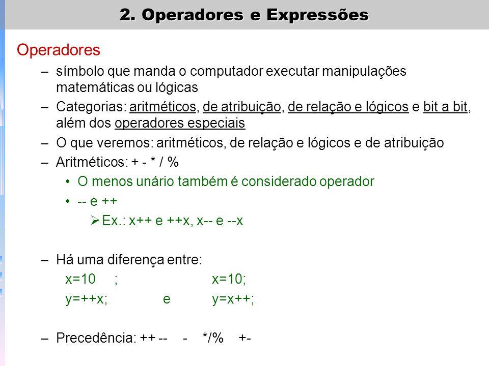 Operadores –símbolo que manda o computador executar manipulações matemáticas ou lógicas –Categorias: aritméticos, de atribuição, de relação e lógicos
