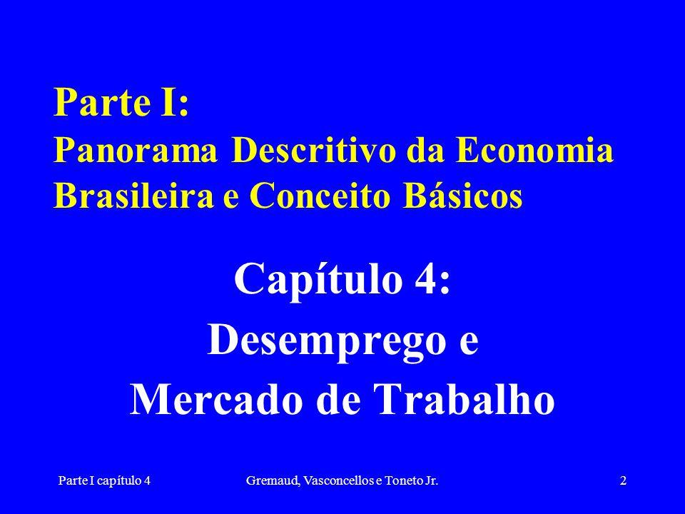 Parte I capítulo 4Gremaud, Vasconcellos e Toneto Jr.2 Parte I: Panorama Descritivo da Economia Brasileira e Conceito Básicos Capítulo 4: Desemprego e Mercado de Trabalho