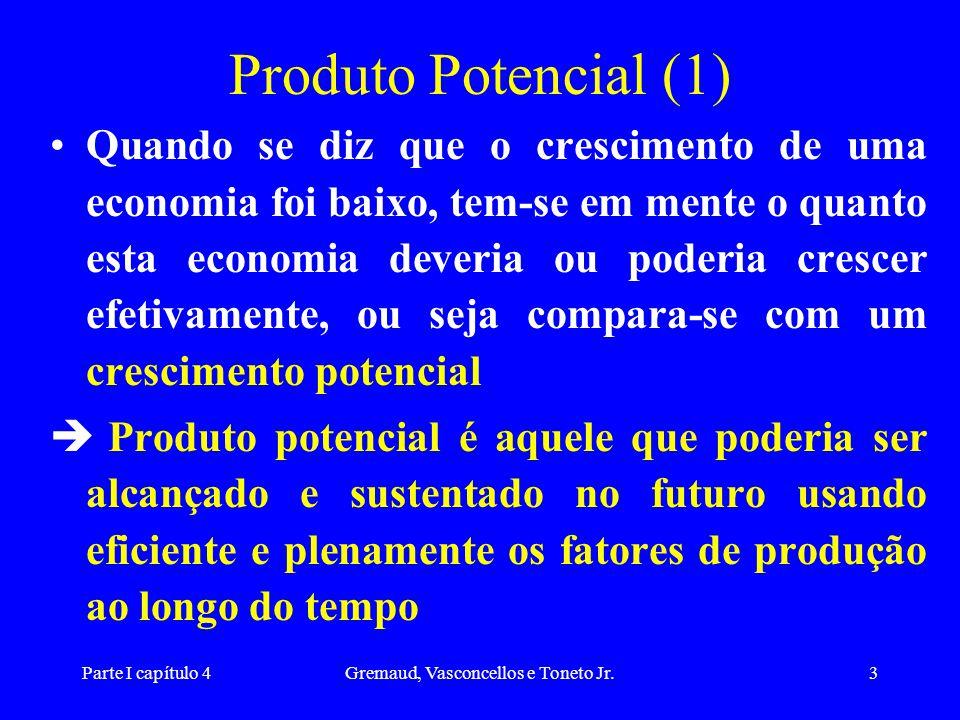 Parte I capítulo 4Gremaud, Vasconcellos e Toneto Jr.3 Produto Potencial (1) Quando se diz que o crescimento de uma economia foi baixo, tem-se em mente o quanto esta economia deveria ou poderia crescer efetivamente, ou seja compara-se com um crescimento potencial è Produto potencial é aquele que poderia ser alcançado e sustentado no futuro usando eficiente e plenamente os fatores de produção ao longo do tempo