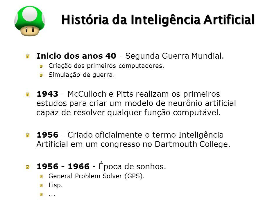 LOGO História da Inteligência Artificial Inicio dos anos 40 - Segunda Guerra Mundial. Criação dos primeiros computadores. Simulação de guerra. 1943 -